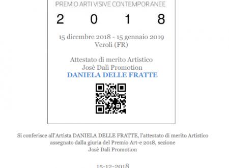 """""""Premio Art-e 2018"""" Jose Dalì Promotion – Attestato di merito artistico"""